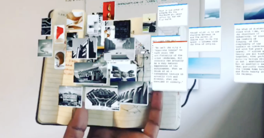 augmented sketch book and moodboard